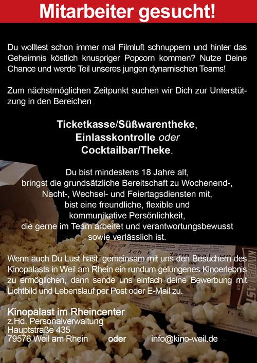 Jobs | Kinopalast im Rheincenter - Hauptstraße 435 - 79576 Weil am ...
